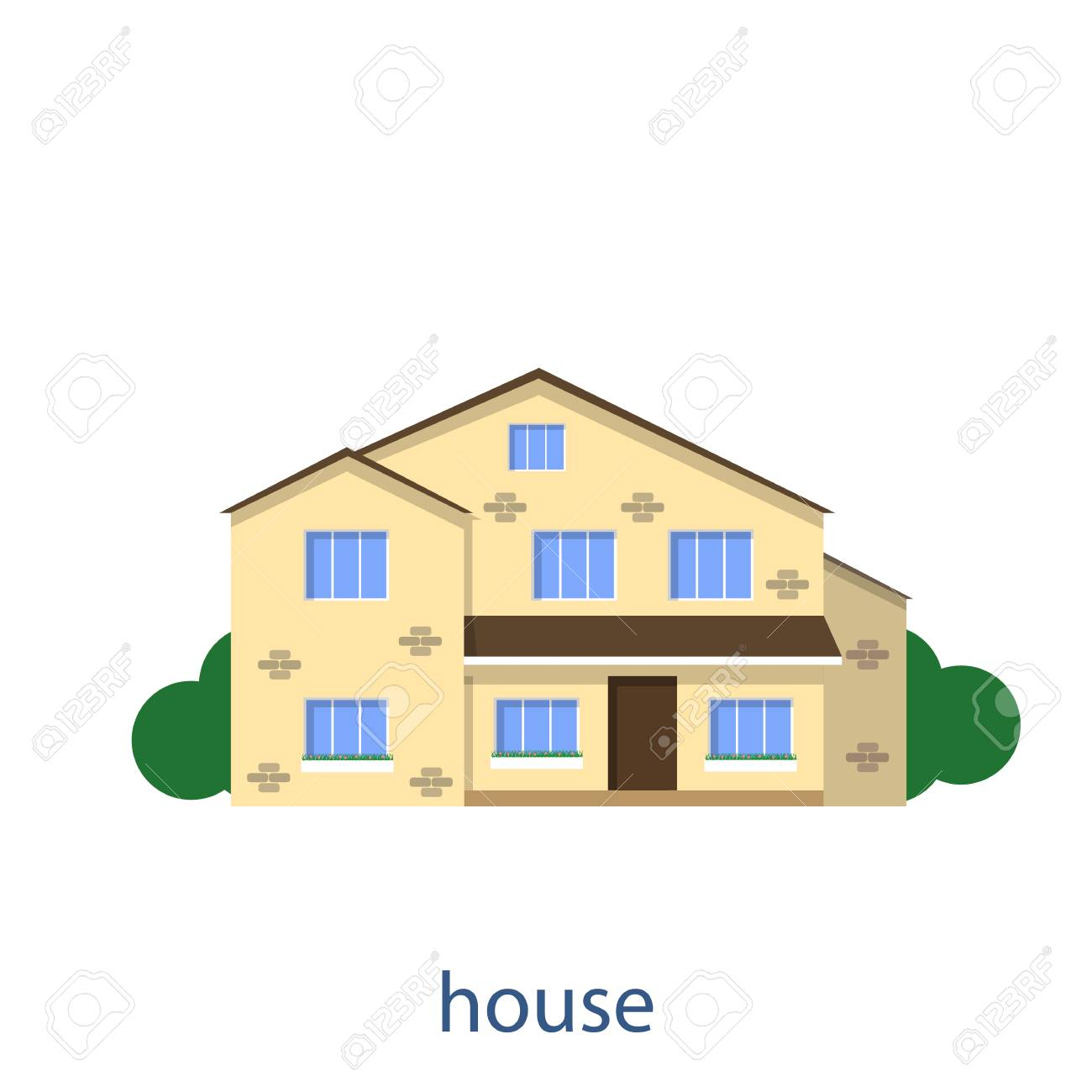Flat Illustration Vector Design House Front View Royalty Free ...