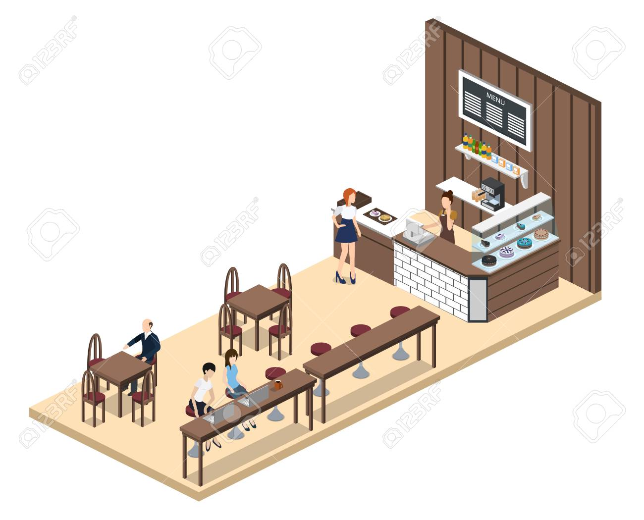 Isometric 3d Vector Illustration Design Interior Coffee Shop Royalty Free Cliparts Vectors And Stock Illustration Image 91167956