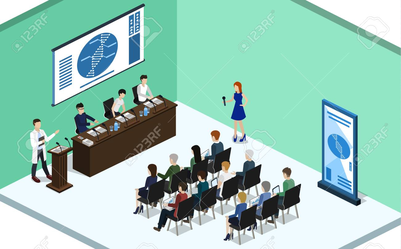 report at a medical conference with students Isometric 3D vector illustration concept - 95529930