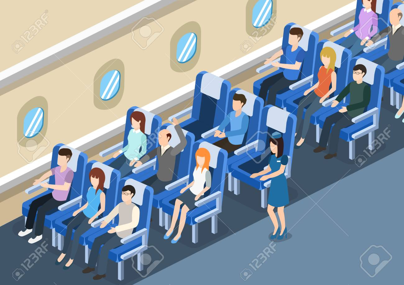 Isometric 3D vector illustration board of the aircraft from the inside with passengers and stewardess - 95451386