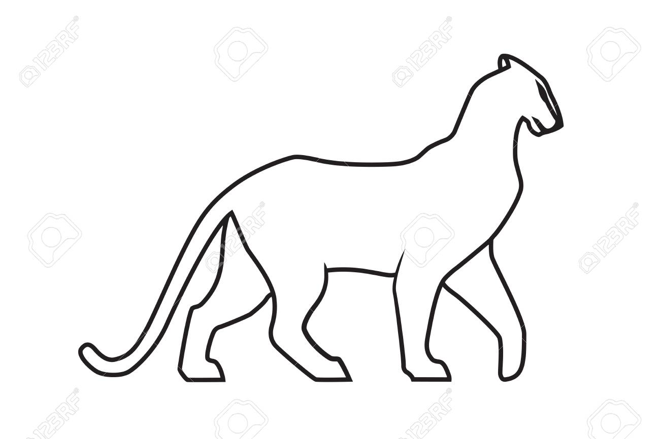Black panther outline on white illustration stock vector 88113787
