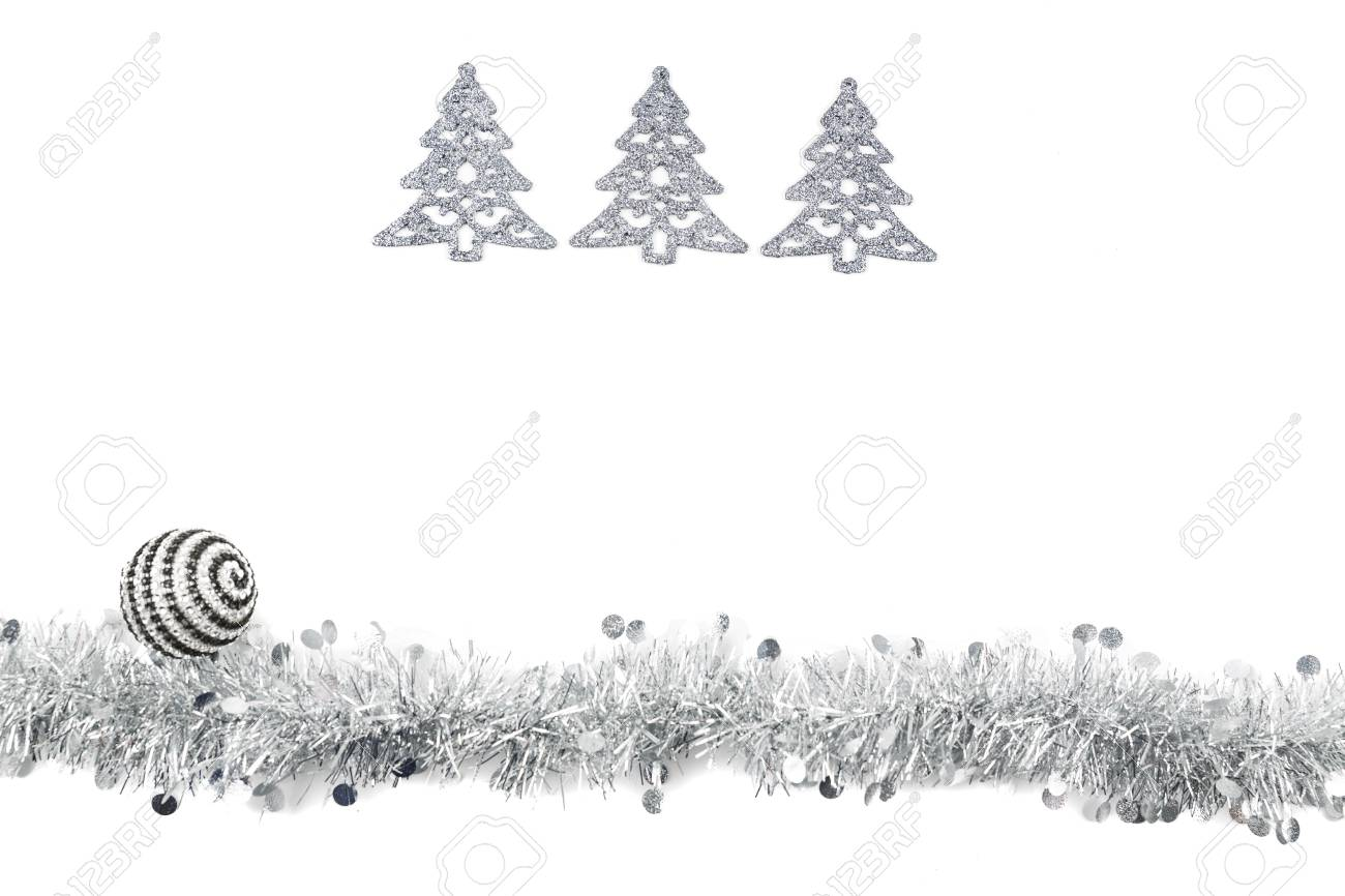 Christmas Garland With Black Ball And Grey Trees On White Background