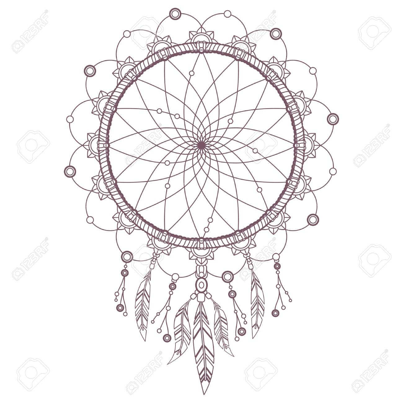 Dreamcatcher Mandala Design For Coloring Royalty Free Cliparts Vectors And Stock Illustration Image 102306305