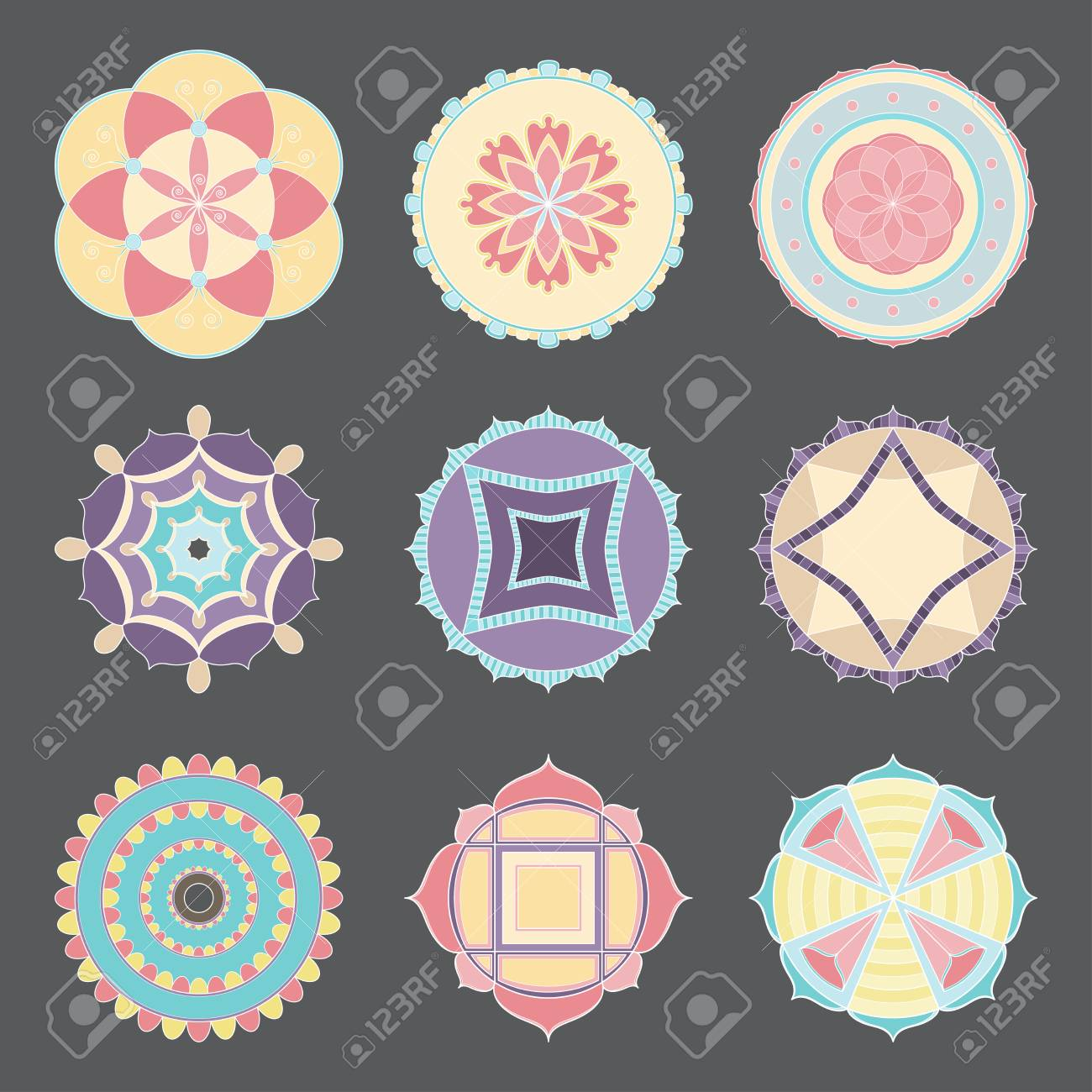 Isolated Simple Designs Of Colorful Mandalas Useful For Coloring Pages And Books And As A Decoration In Any Form