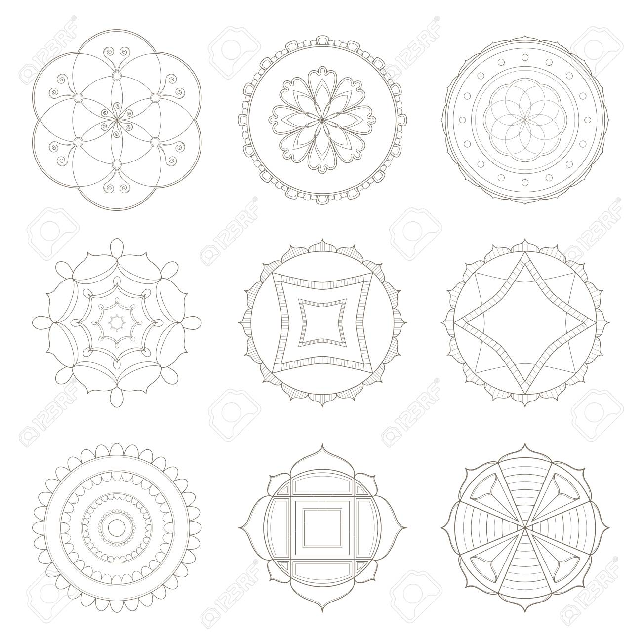 Collection Of Nine Simple Designs Of Mandala Useful For Coloring
