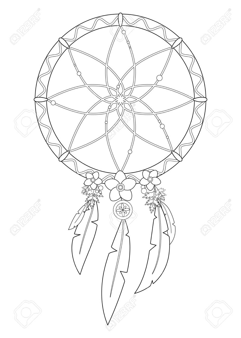 Outline Vector Illustration Of Boho Dreamcatcher Isolated On