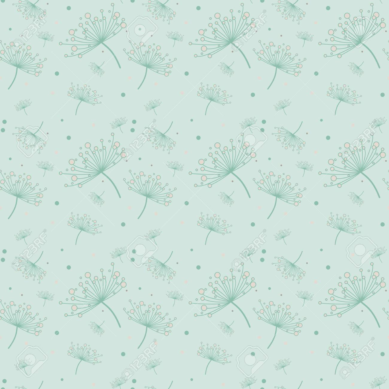 Simple Seamless Pattern With Dandelions In Mint And Light Pink