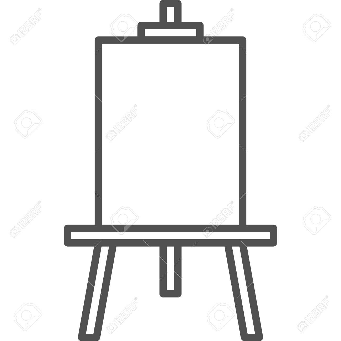 Simple art and hobby Vector line art Icon. Drawing easel for..