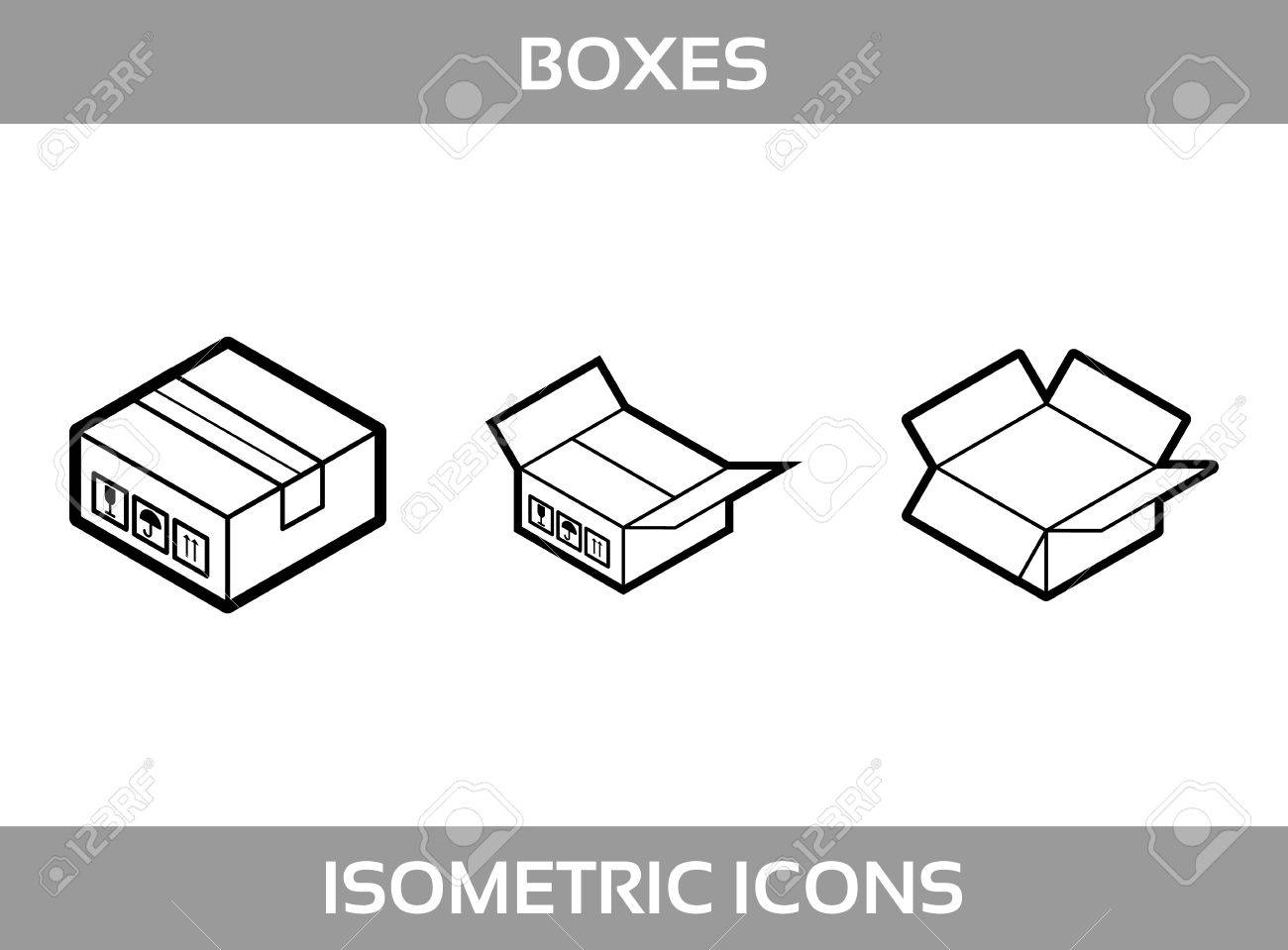 6fc9014d1ad Simple Set of Isometric packaging boxes Vector Line art Icons. Black and  white line art