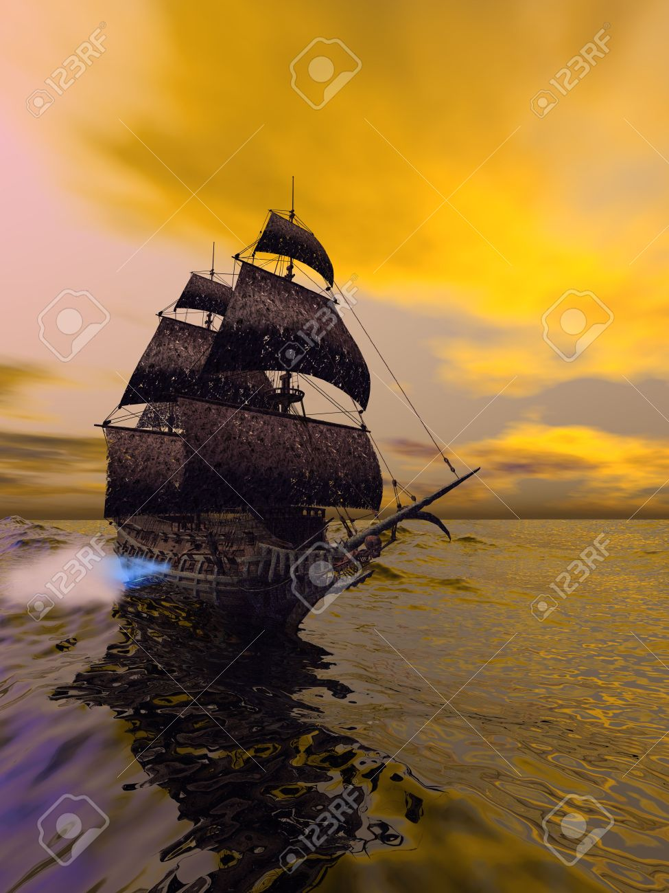 The Flying Dutchman, according to folklore, is a ghost ship that can never go home, doomed to sail the oceans forever. The Flying Dutchman is usually spotted from far away, sometimes glowing with ghostly light. It is said that if hailed by another ship, i Stock Photo - 7256381