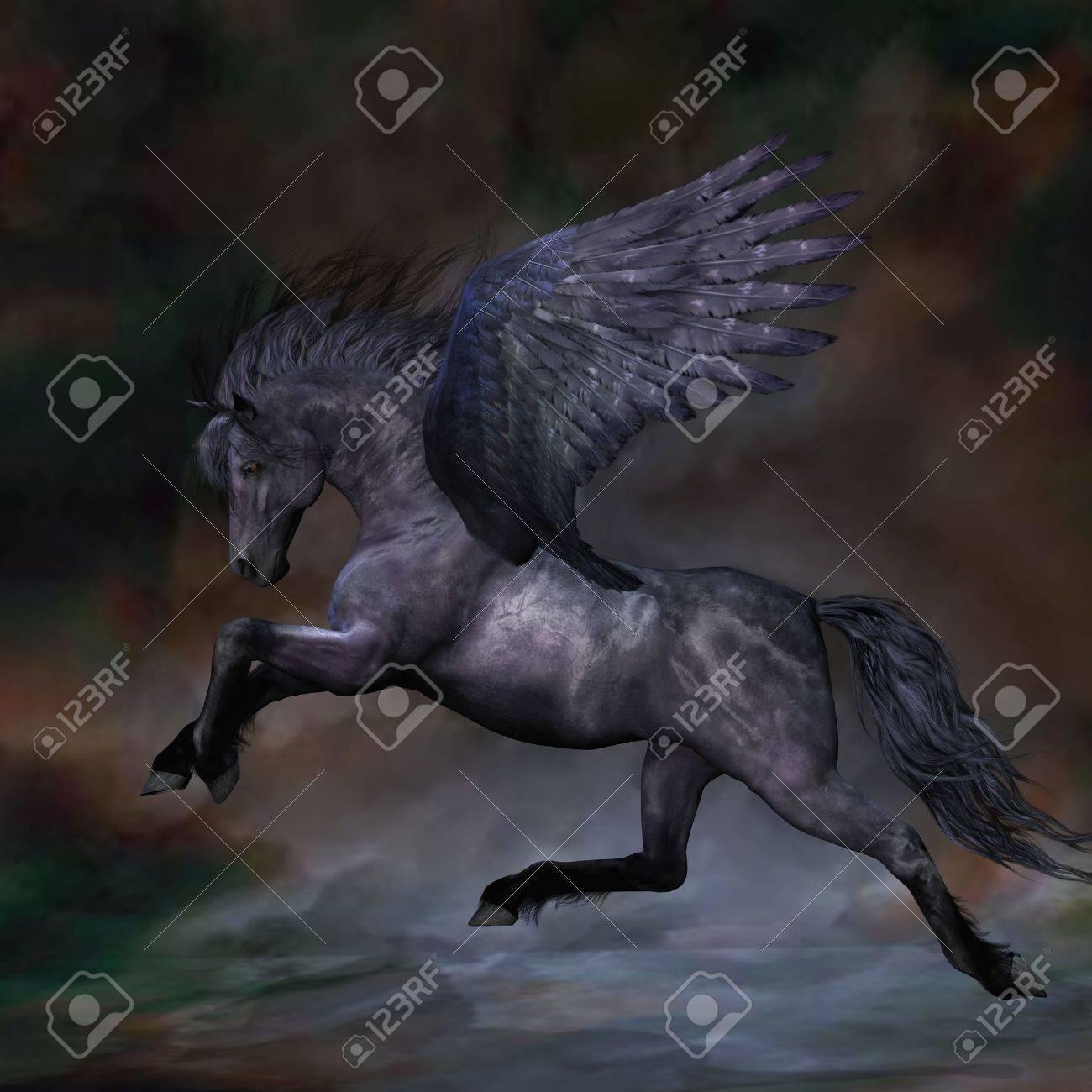 EBONY - A beautiful black Pegasus stallion flies over the misty water. Stock Photo - 7399649