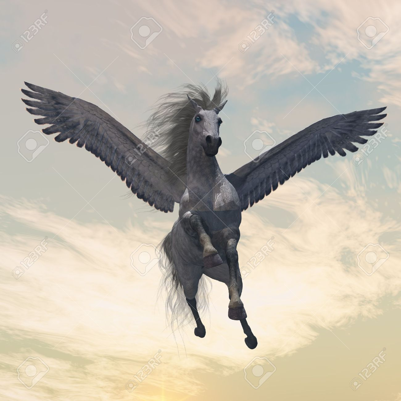 PEGASUS 2 - The fabled creature of myth and legend, the white Pegasus, flies with beautiful wings. Stock Photo - 8711085