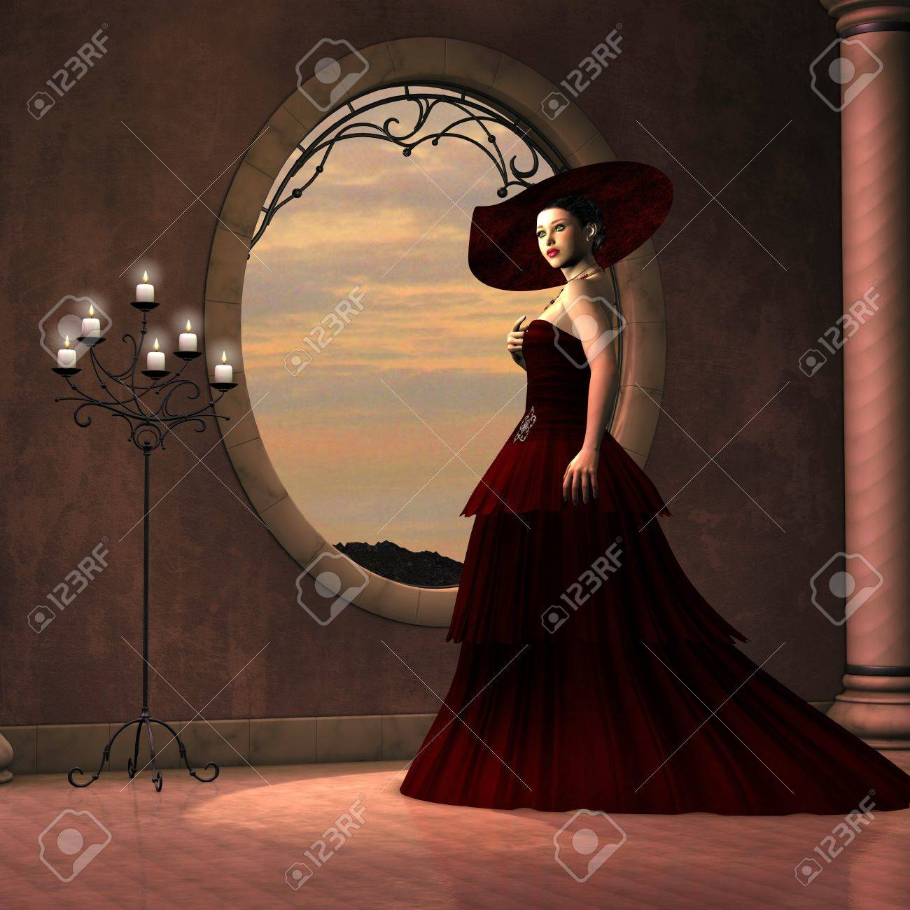 Lady in Red Dress - A beautiful woman in a red gown poses near a window 410372cef