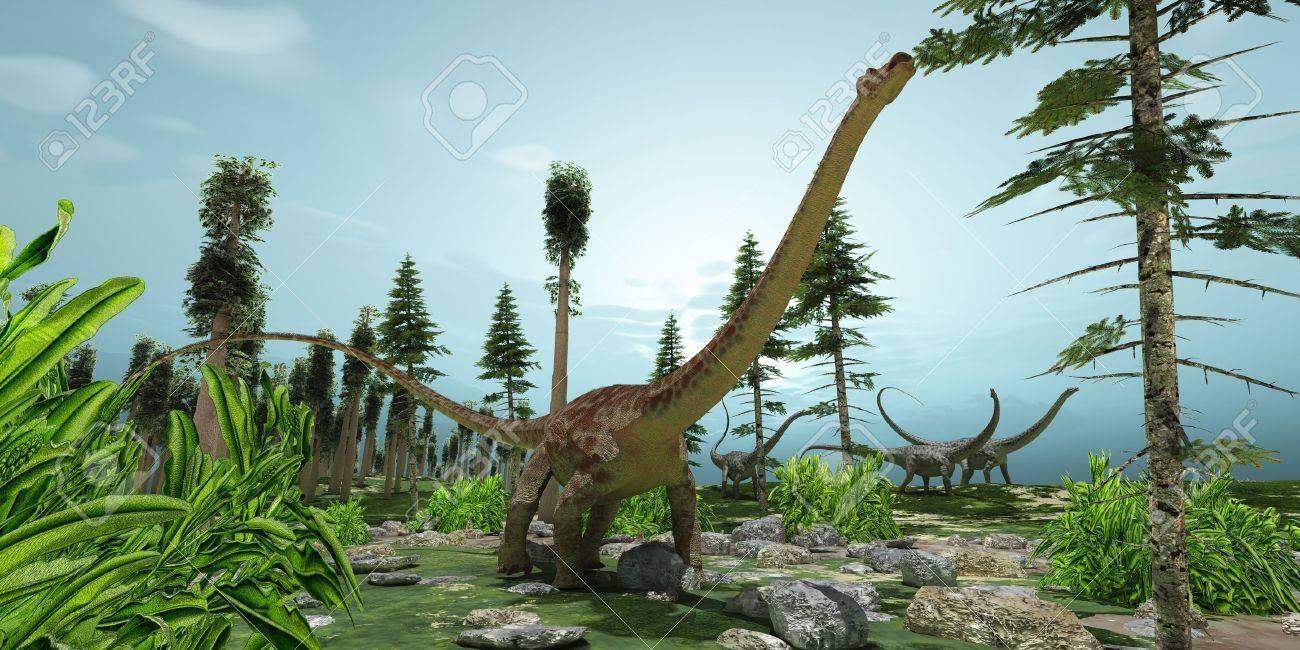 banque dimages diplodocus monde un troupeau de dinosaures diplodocus grignoter leur chemin le long de leur itinraire de migration