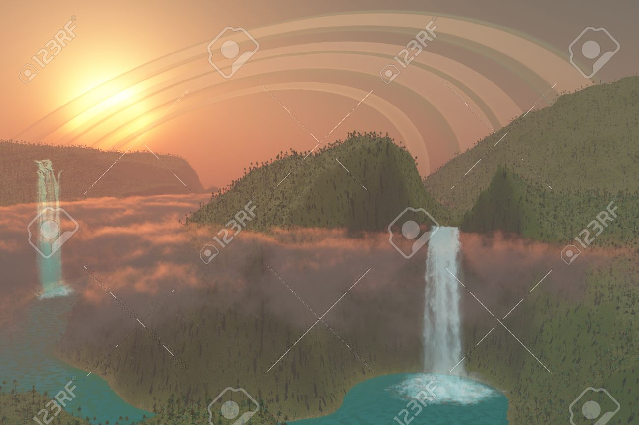 Alien Jungle - This alien planet of lush tropical jungle, river systems and waterfalls is surrounded by rings Stock Photo - 16984041