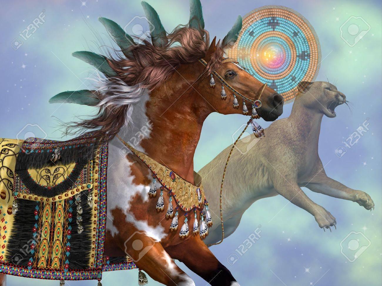 Viva omitir Chorrito  Year Of The Horse Cougar - Un Caballo De La Pintura Y Un Gato Puma Son  Símbolos De La Cultura India Americana Fotos, Retratos, Imágenes Y  Fotografía De Archivo Libres De Derecho.