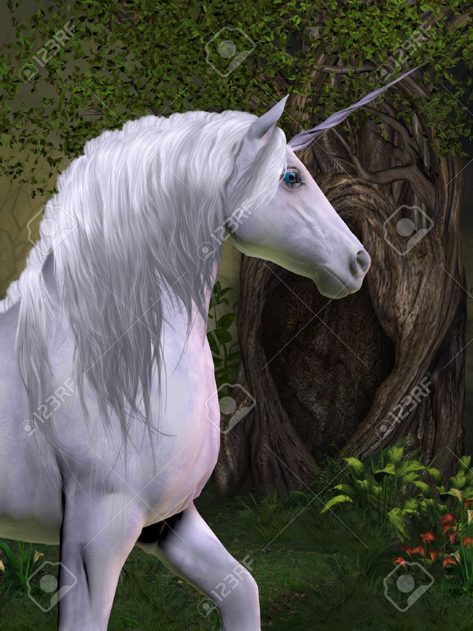 Unicorn Horse A Unicorn Buck Prances In The Magical Forest Stock Photo Picture And Royalty Free Image Image 21017760