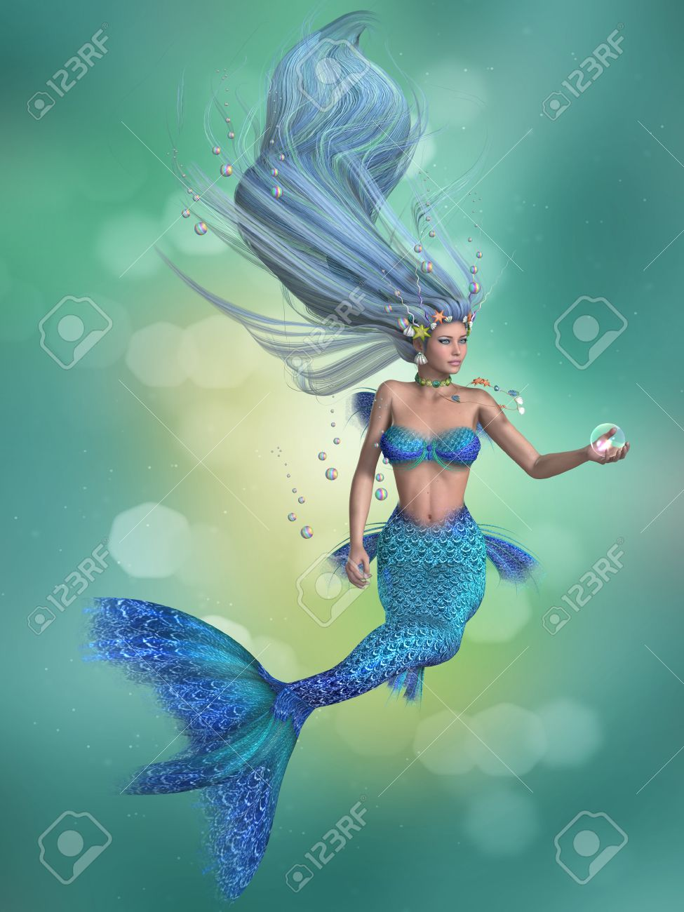 mermaid in blue a mermaid is a fantasy sea creature with the
