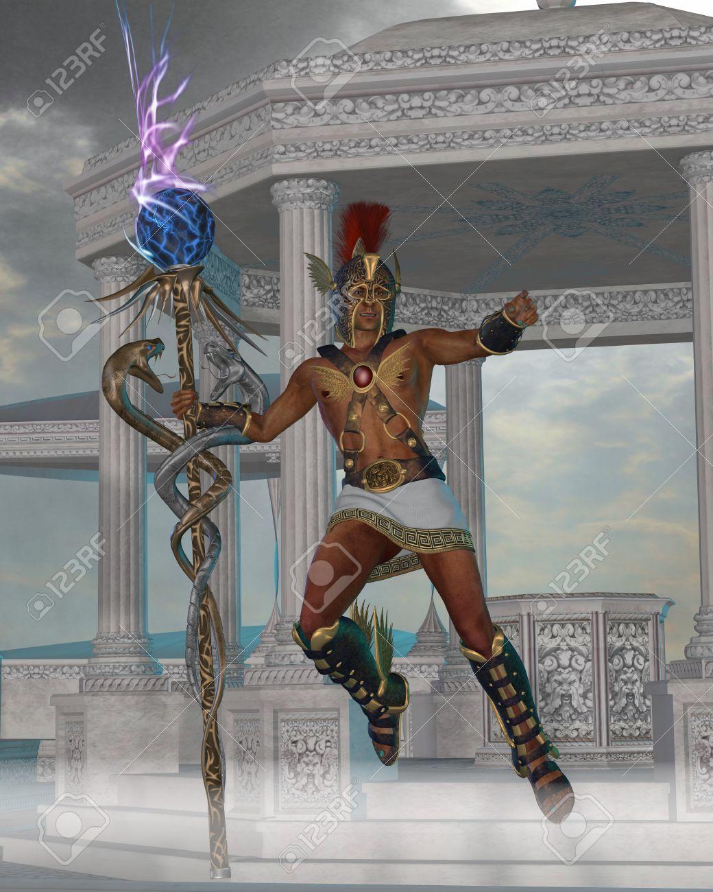 Banque d images - Hermes Messenger aux dieux - Hermès dans la mythologie  grecque est le fils de Zeus et est un dieu de l Olympe et sert de messager  entre ... 76ba6e01aba