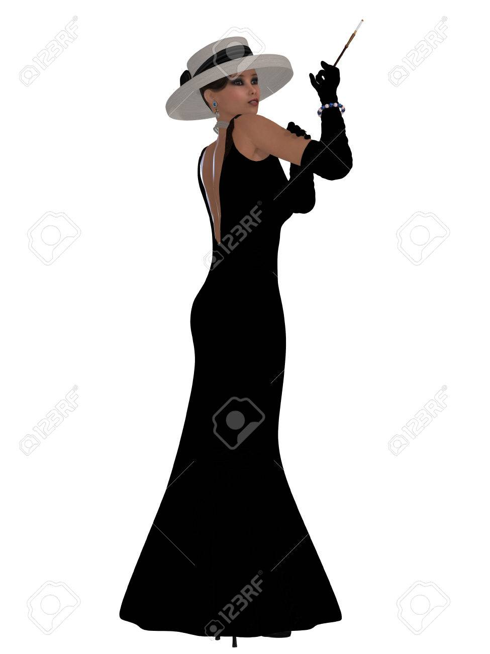 Black dress gloves - Retro Black Dress A Beautiful Woman In A Black Dress Hat And Gloves In