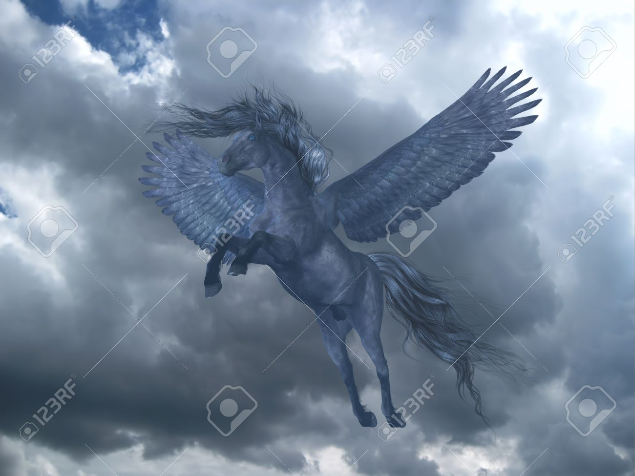 Black Pegasus In Blue Sky A Black Pegasus Horse Rises On Powerful Stock Photo Picture And Royalty Free Image Image 65114131