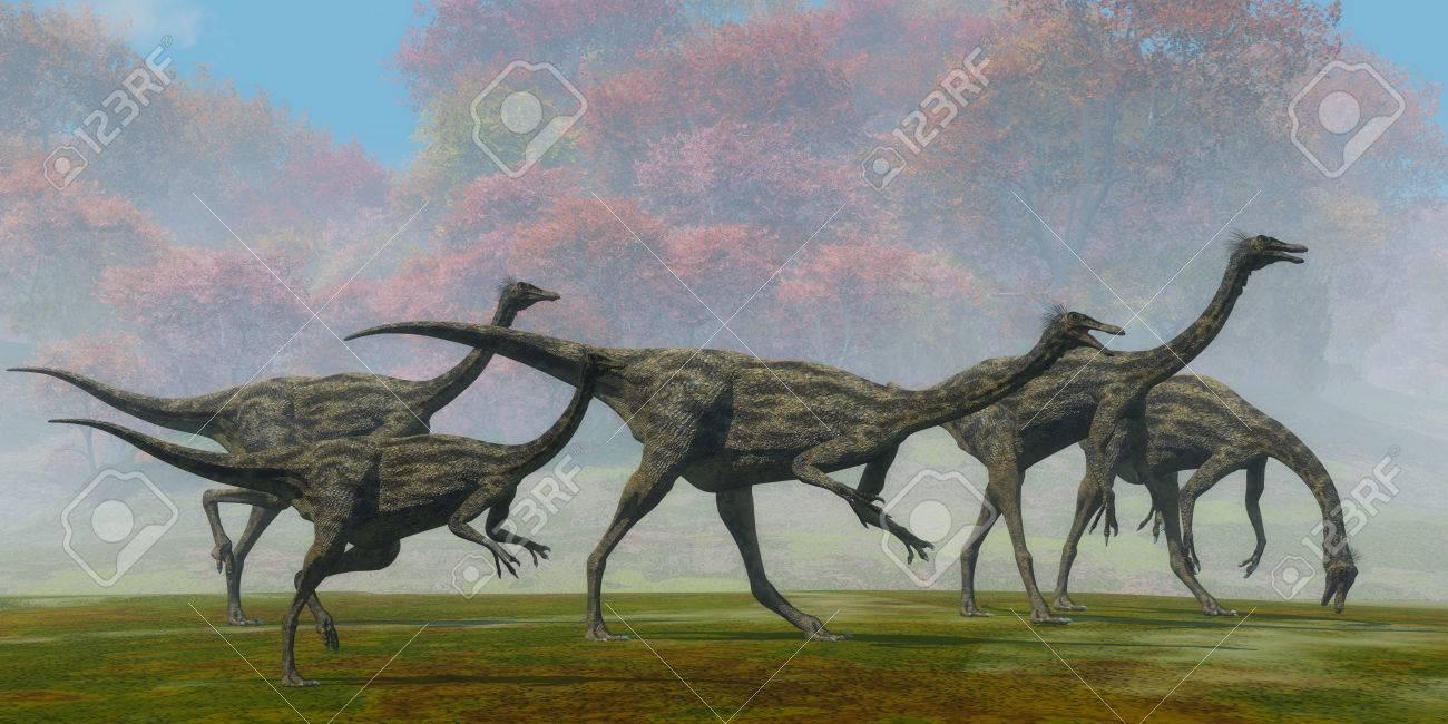 ガリミムス恐竜秋の日 - 恐竜爬虫類はモンゴルの白亜紀時代の食料を ...