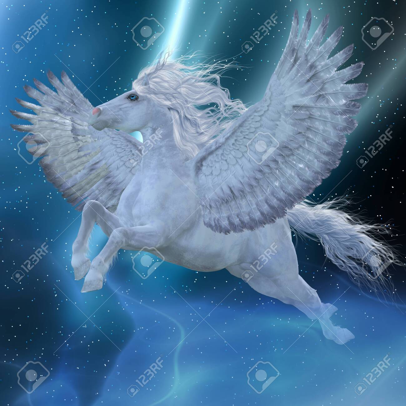 Mystic Pegasus Pegasus Is A Mystical Divine Stallion Which Stock Photo Picture And Royalty Free Image Image 126640885