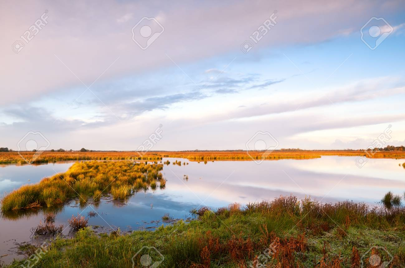 symmetrical reflections os cloudscape in water on swamps, Drenthe Stock Photo - 17379256
