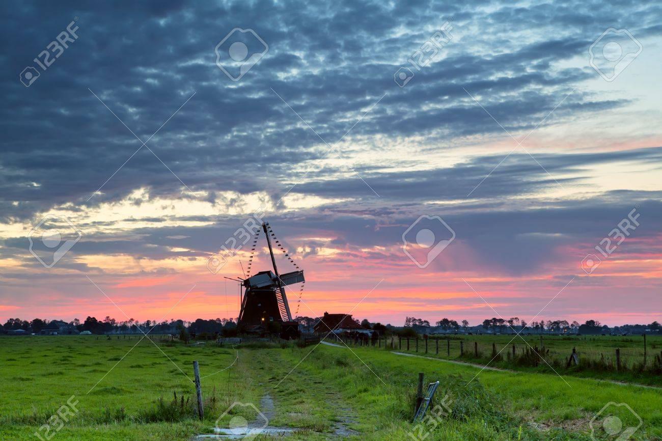 Dutch windmill silhouette at sunrise, Groningen Stock Photo - 18465716