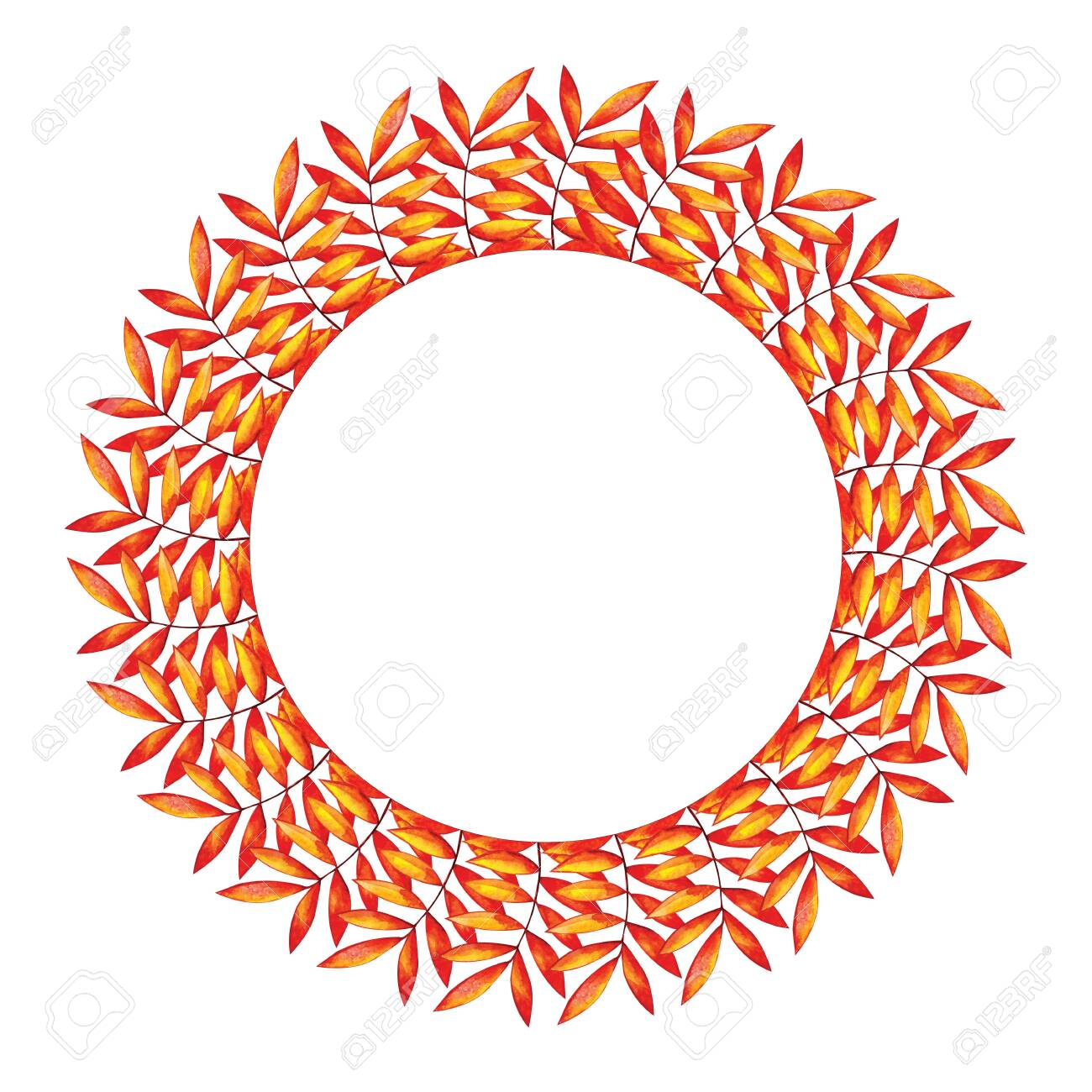 Round Frame With Red And Yellow Autumn Leaves Blank Template