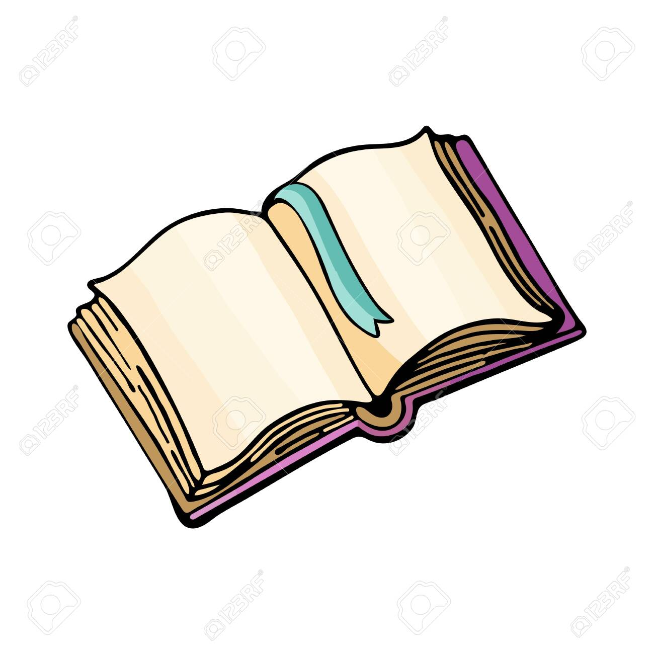Open book or tutorial, vector drawing isolated on white background. Cartoon Doodle of cute, colorful illustrations. Funny works of art. Hand-drawn sketch. Logo design, symbol, emblem, sticker. - 129259531