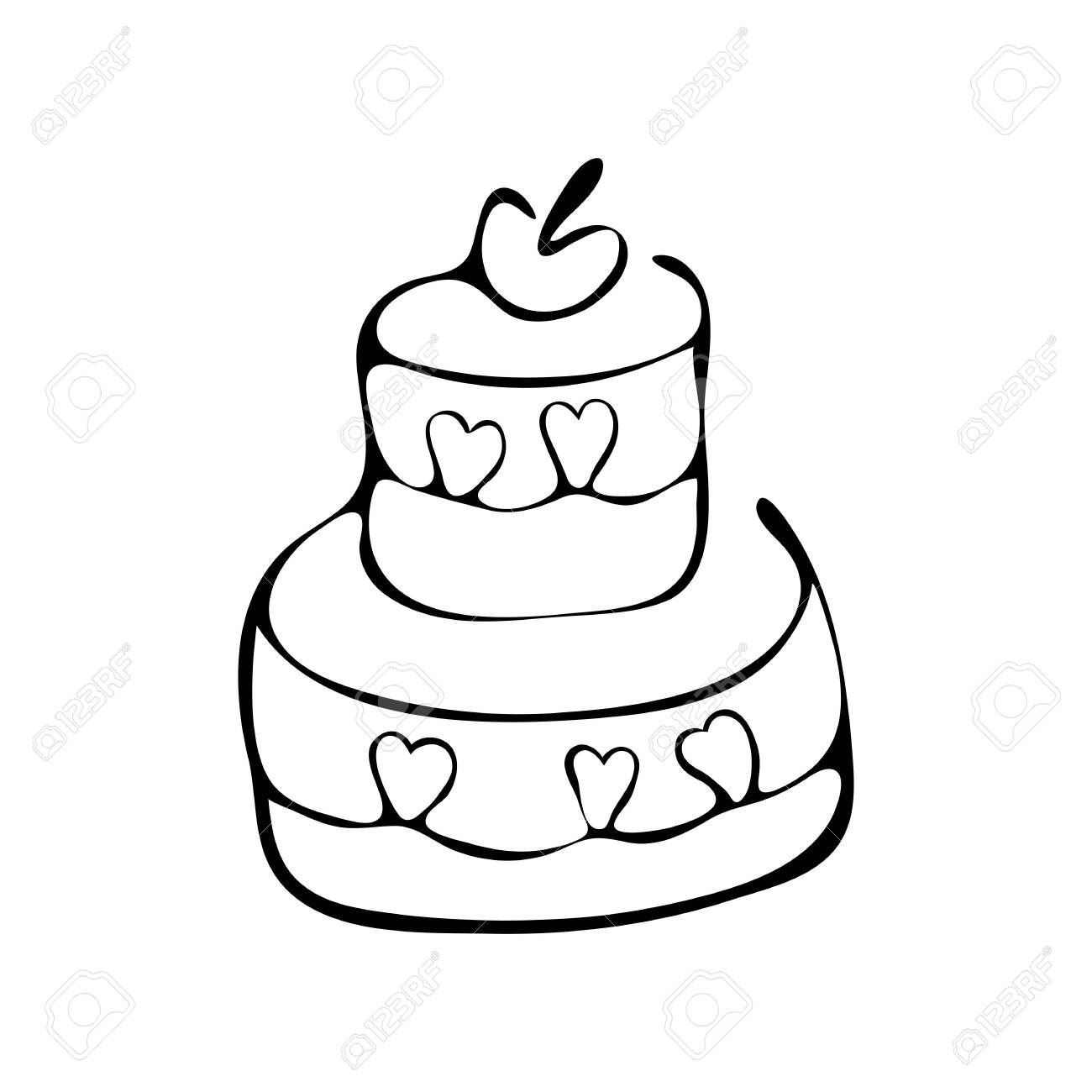 Surprising Continuous Line Drawing Tiered Birthday Cake Symbol Of Funny Birthday Cards Online Alyptdamsfinfo