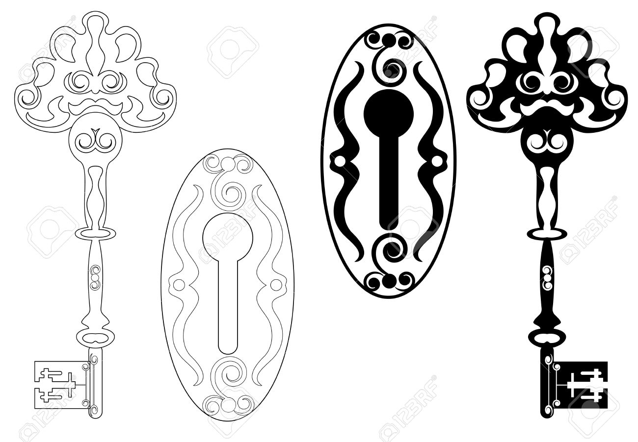 Vintage Key Clip Art Vector - skeleton key and