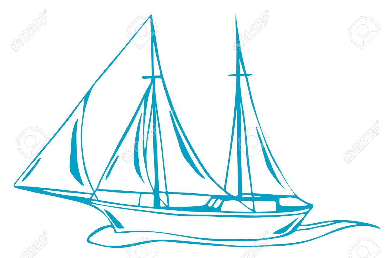Chalk sailboat with birds outline vector by pandamanda827 - Image ...