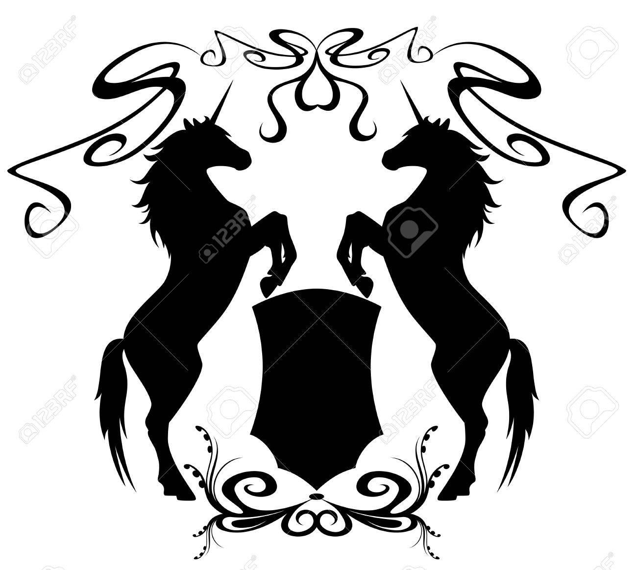 two unicorns holding a shield - heraldic design elements Stock Vector - 10594665