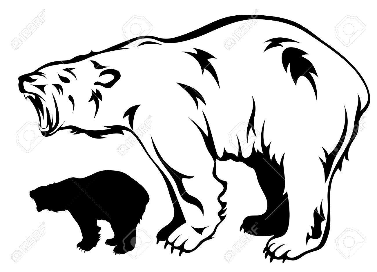 polar bear growling vector illustration Stock Vector - 10628474