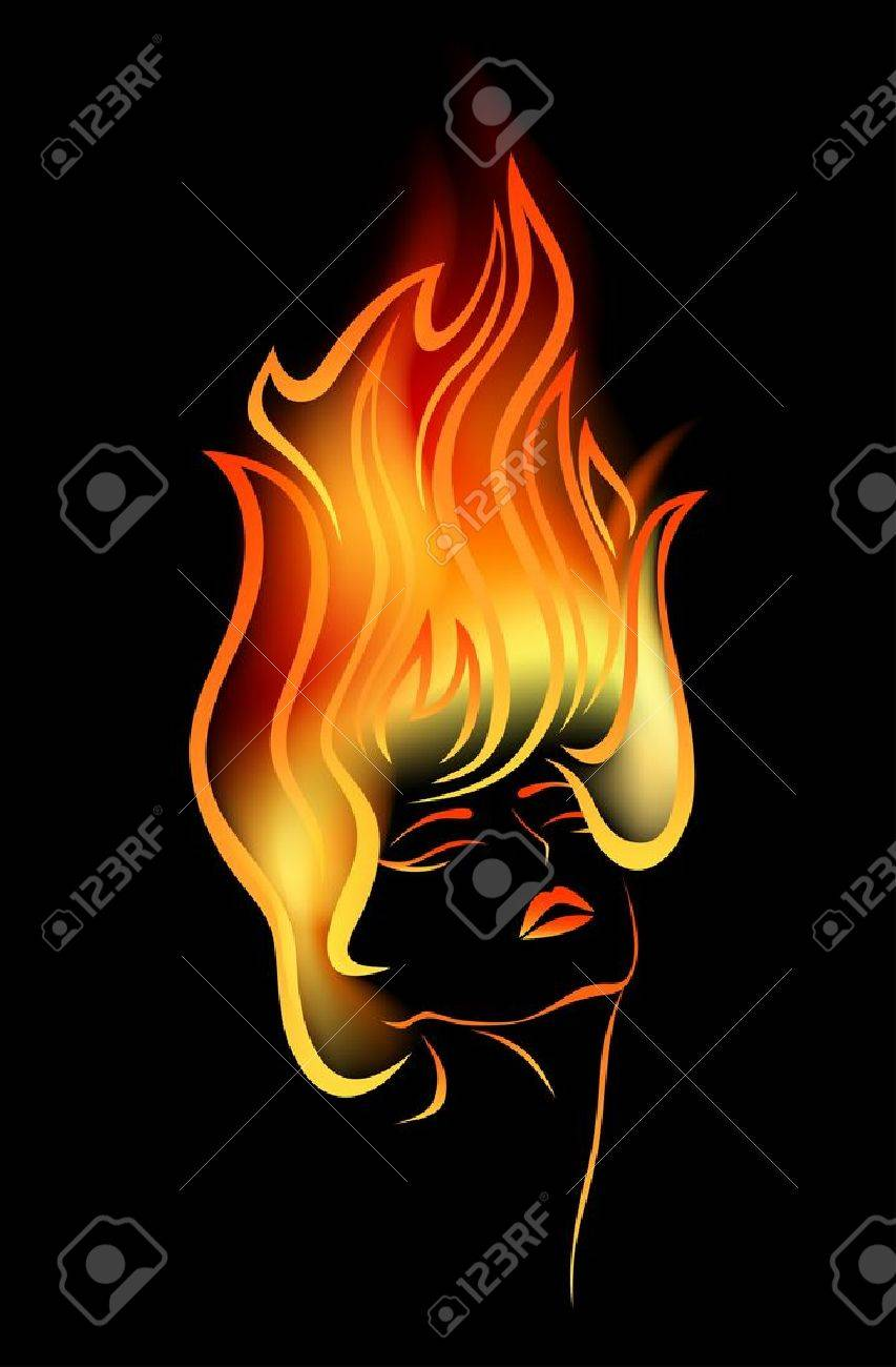 girl with flames in her hair Stock Vector - 11091136