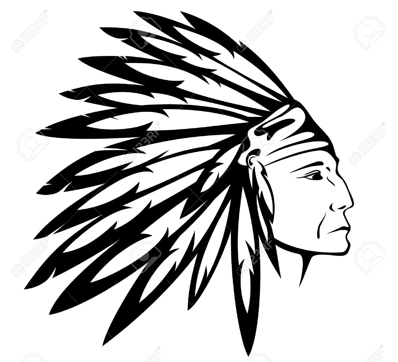 red indian chief wearing traditional headdress royalty free cliparts rh 123rf com indian feather headdress clipart indian headdress clipart free