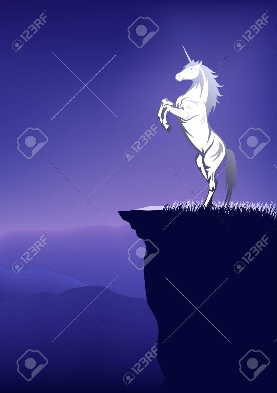 fairytale unicorn on the top of mountain Stock Vector - 11345038