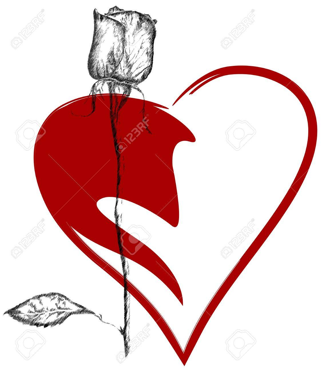 valentine emblem - heart  with a long stem rose Stock Vector - 11662132