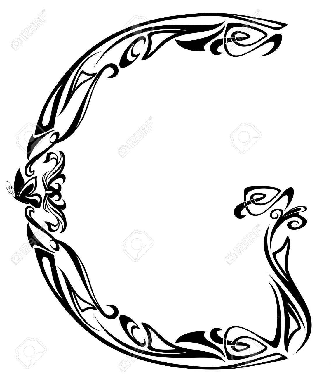 Art nouveau style vintage font letter g black and white outline art nouveau style vintage font letter g black and white outline stock vector 11788126 altavistaventures Choice Image