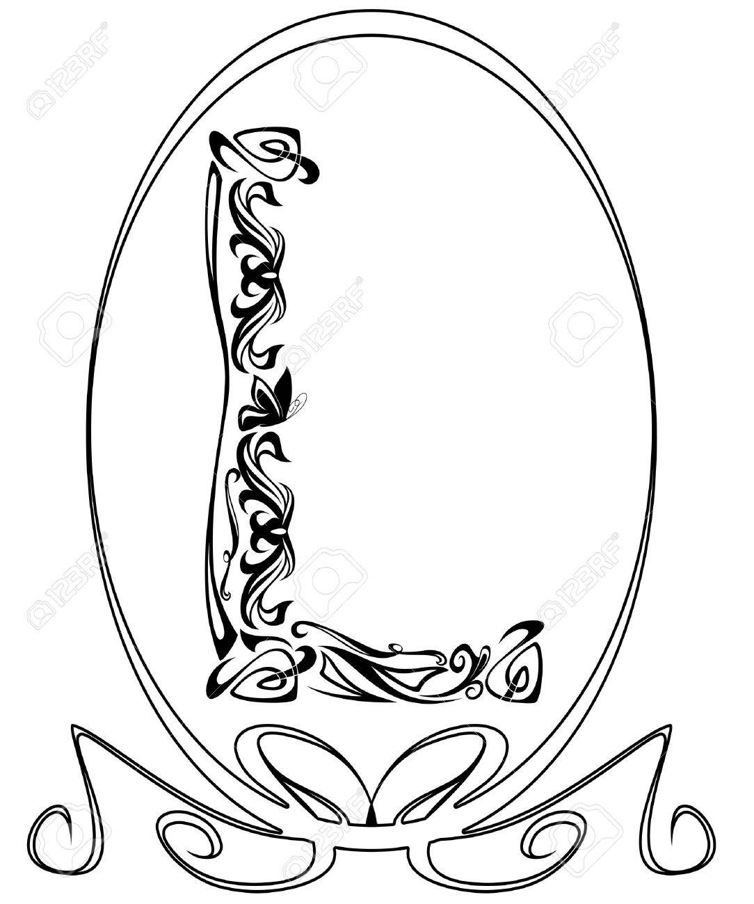 Art Nouveau style vintage font - letter L black and white outline Stock Vector - 11866133