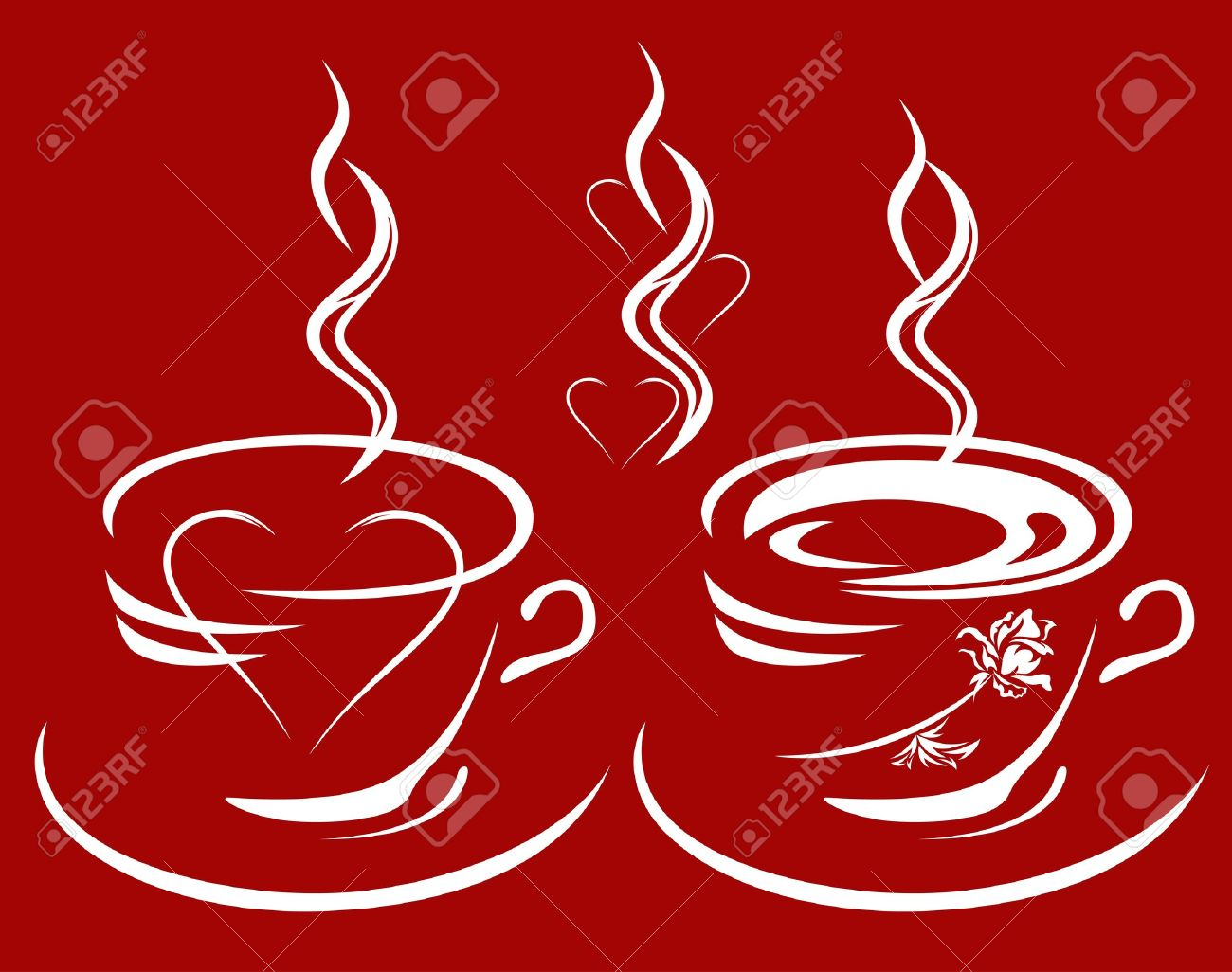 cup of coffee or tea with heart and rose inside - hot drinks decorative elements set Stock Vector - 11866134