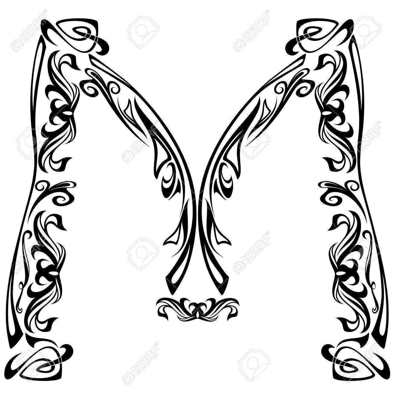 Art Nouveau Style Font Letter M Black And White Fine Vector
