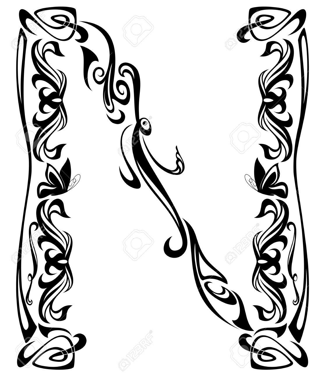 Art Nouveau Style Vintage Font Letter N Monochrome Outline Royalty