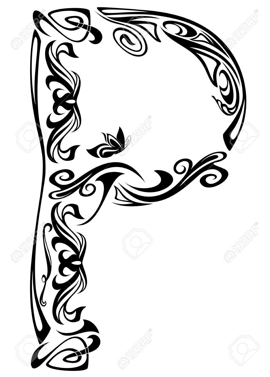 Art Nouveau Style Vintage Font Letter P Black And White Outline