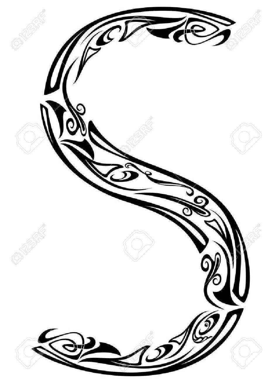 Art Nouveau floral style font - letter S - black and white fine vector outline Stock Vector - 11985016