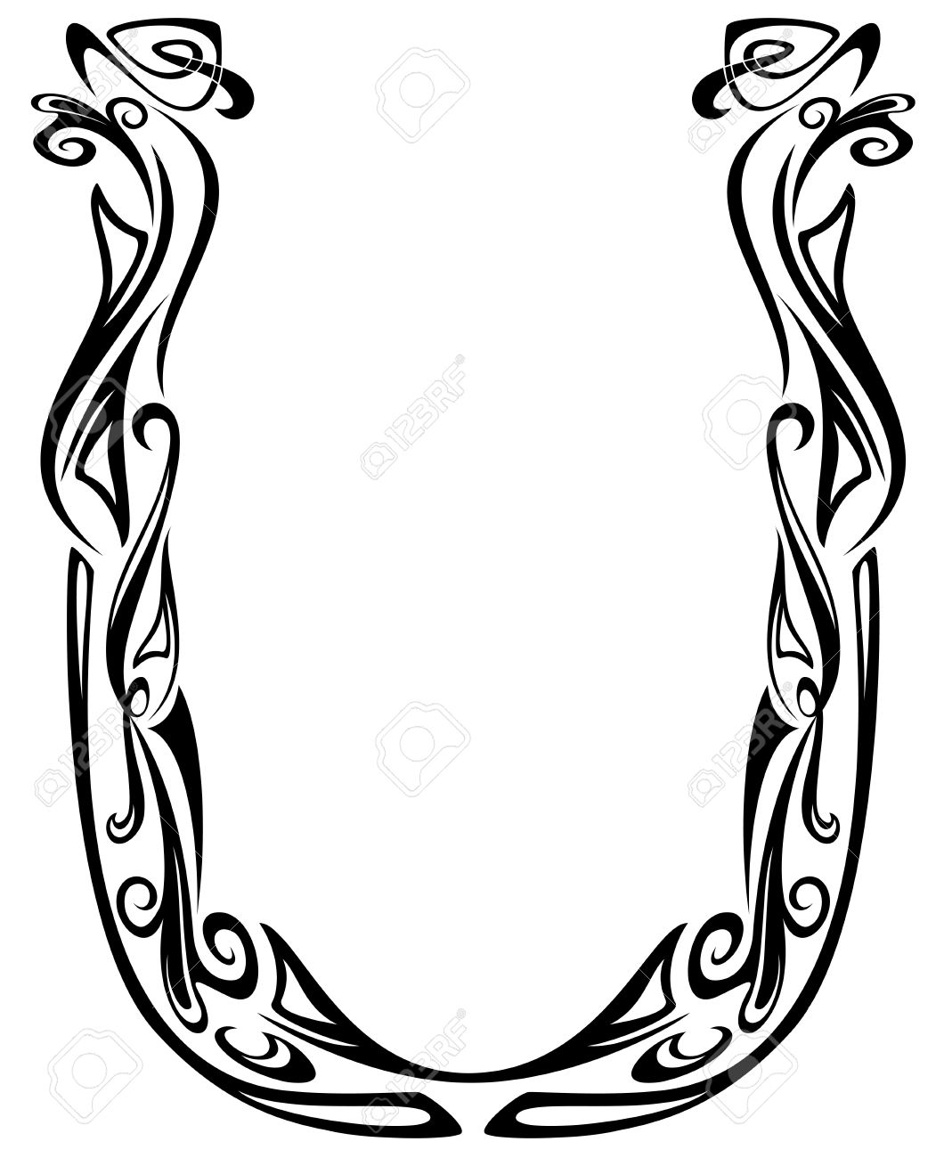 Art Nouveau floral style font - letter U - black and white fine vector outline - abstract floral design elements Stock Vector - 12167491
