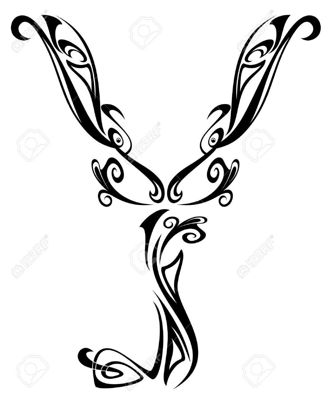 Art Nouveau Floral Style Font Letter Y Black And White Fine
