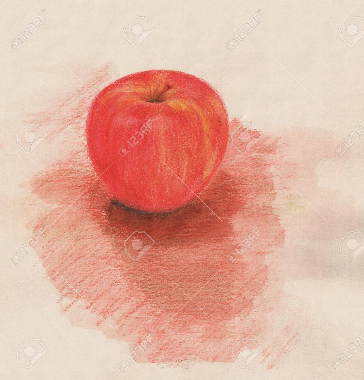 Red apple vintage style watercolor pencil drawing stock photo 12680777